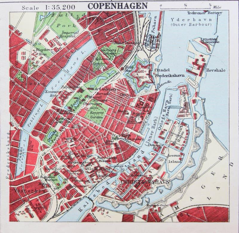 Ο παλαιός χάρτης του 1945 περιβάλλει της Κοπεγχάγης, Δανία απεικόνιση αποθεμάτων