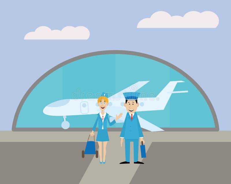 Ο πειραματικός και η αεροσυνοδός στον αερολιμένα ελεύθερη απεικόνιση δικαιώματος