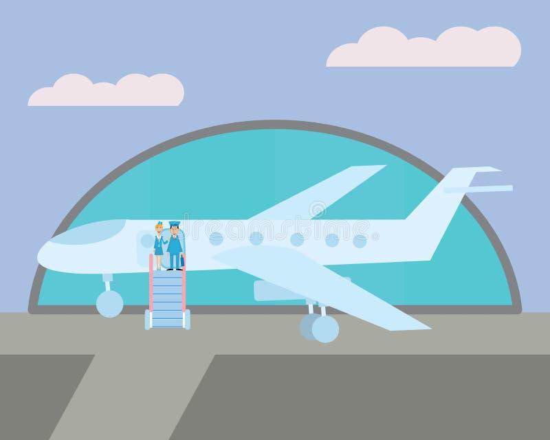 Ο πειραματικός και η αεροσυνοδός στο αεροπλάνο διανυσματική απεικόνιση