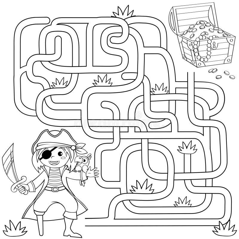 Ο πειρατής βοήθειας βρίσκει την πορεία στο στήθος θησαυρών λαβύρινθος Παιχνίδι λαβυρίνθου για τα κατσίκια Γραπτή διανυσματική απε απεικόνιση αποθεμάτων