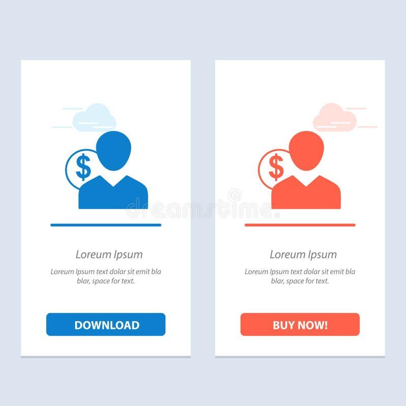 Ο πελάτης, ο χρήστης, οι δαπάνες, ο υπάλληλος, η χρηματοδότηση, τα χρήματα, το πρόσωπο μπλε και το κόκκινο μεταφορτώνουν και αγορ διανυσματική απεικόνιση