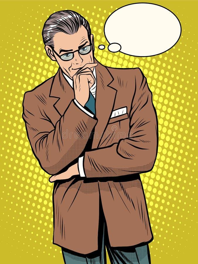 Ο πεπειραμένος επιχειρηματίας σκέφτεται διανυσματική απεικόνιση
