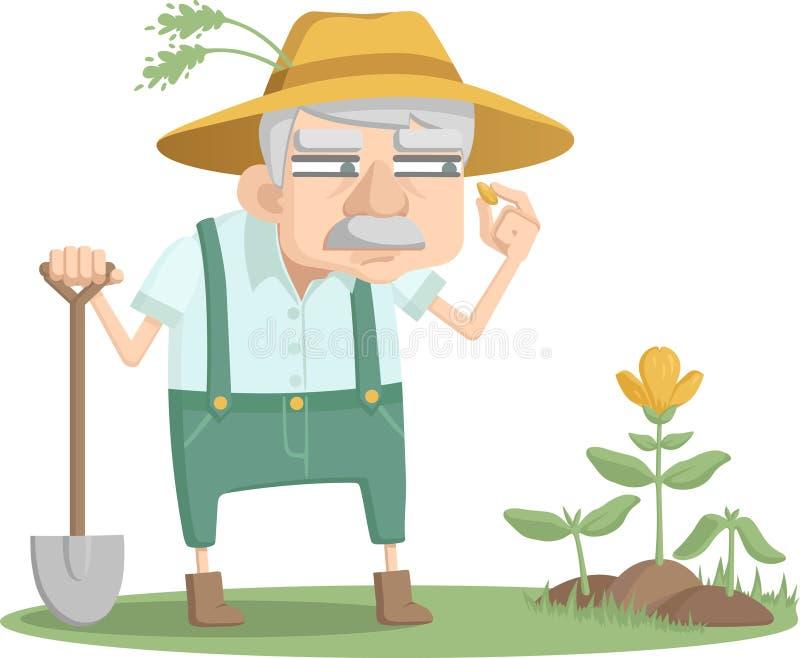 Ο περίεργος κηπουρός στην εργασία Ένας ηληκιωμένος κοιτάζει πέρα από τον κήπο του απεικόνιση αποθεμάτων