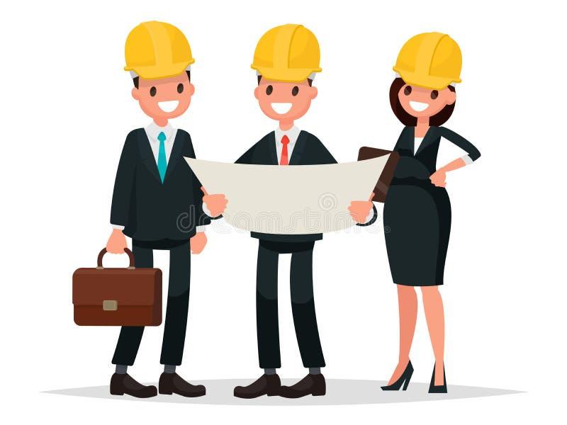 Ο πελάτης και ο ανάδοχος μηχανικών συζητούν το πρόγραμμα Vec διανυσματική απεικόνιση