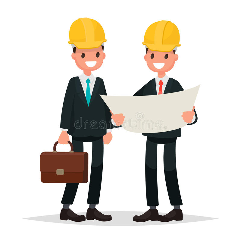 Ο πελάτης και ο ανάδοχος Τα άτομα έντυσαν στα επιχειρησιακά κοστούμια α απεικόνιση αποθεμάτων