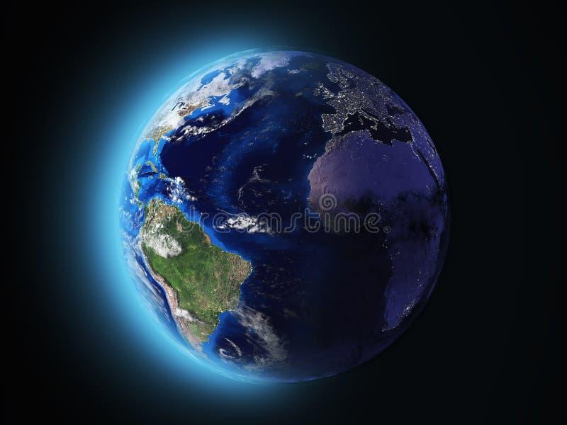 Ο πλανήτης Γη λάμπει στη διαστημική τρισδιάστατη απεικόνιση ελεύθερη απεικόνιση δικαιώματος