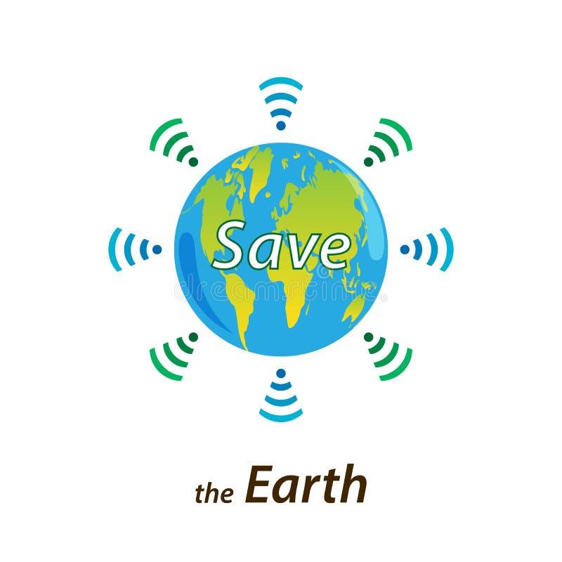 Ο πλανήτης Γη στέλνει ένα σήμα για τη βοήθεια μέσω της WI-Fi Το κείμενο σώζει το θόριο διανυσματική απεικόνιση