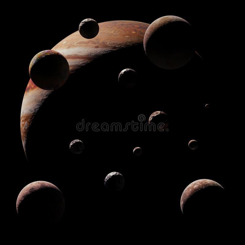 Ο πλανήτης Δίας με μερικά από τα φεγγάρια στο μαύρο τρισδιάστατο διάστημα υποβάθρου δίνει, τα στοιχεία αυτής της εικόνας εφοδιάζο στοκ εικόνα