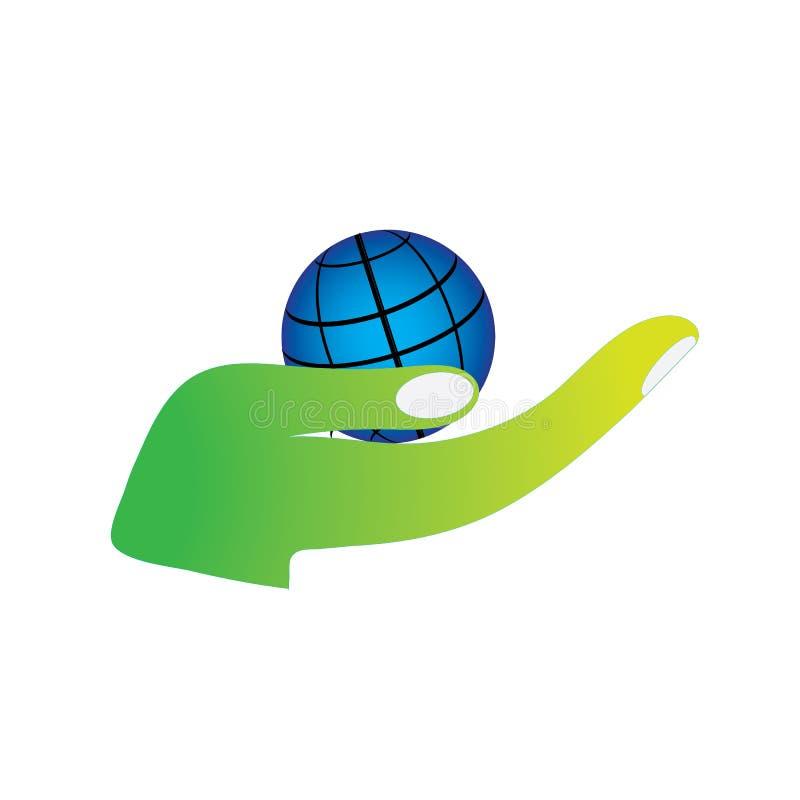 Ο πλανήτης εκμετάλλευσης χεριών σώζει στην πράσινη γη το ευνοϊκό για το περιβάλλον λογότυπο διανυσματική απεικόνιση