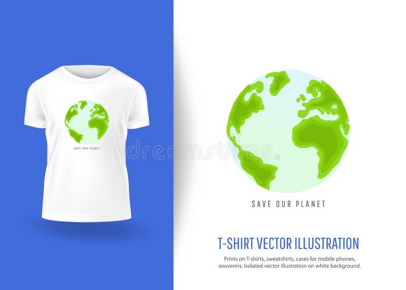 ο πλανήτης μας σώζει Τυπωμένες ύλες στις μπλούζες διανυσματική απεικόνιση