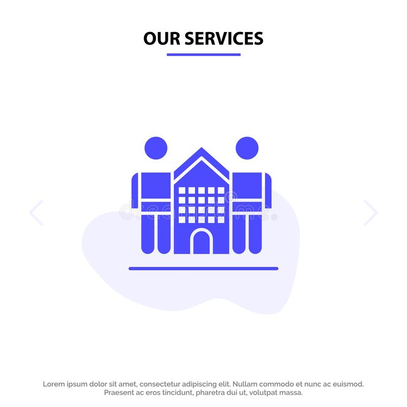 Ο πολιτισμός υπηρεσιών μας, φιλικός, φίλοι, σπίτι, στερεό πρότυπο καρτών Ιστού εικονιδίων Glyph ζωής ελεύθερη απεικόνιση δικαιώματος