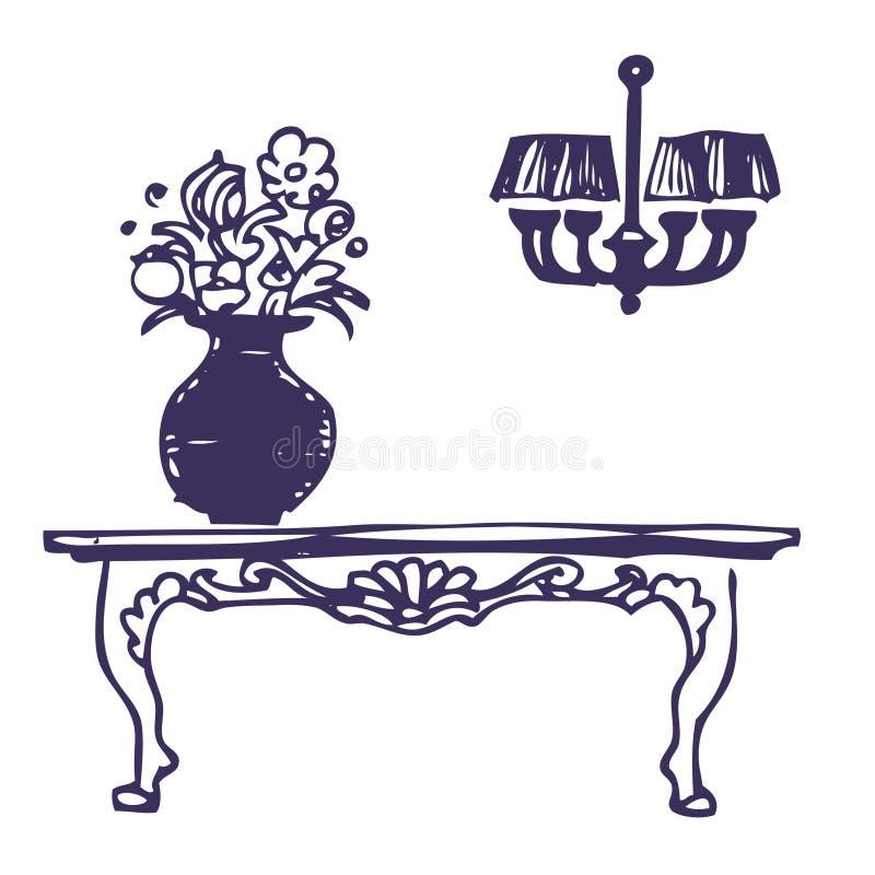 ο πολυέλαιος ανθίζει επιτραπέζιο vase τον τρύγο ελεύθερη απεικόνιση δικαιώματος