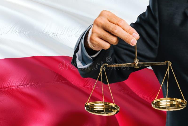 Ο πολωνικός δικαστής κρατά τις χρυσές κλίμακες της δικαιοσύνης με το κυματίζοντας υπόβαθρο σημαιών της Πολωνίας Θέμα ισότητας και στοκ εικόνες
