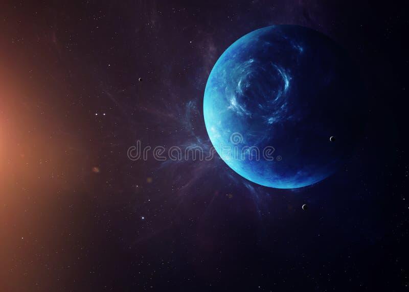 Ο Ποσειδώνας με τα φεγγάρια από τη διαστημική παρουσίαση όλη αυτοί στοκ εικόνες