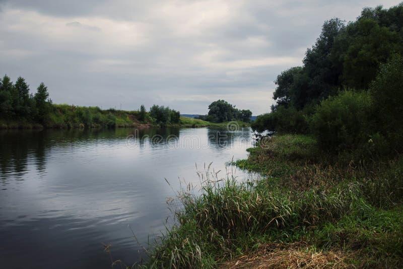 Ο ποταμός είναι σκούρο μπλε με την πράσινα και κίτρινα χλόη και τα δέντρα στοκ εικόνες
