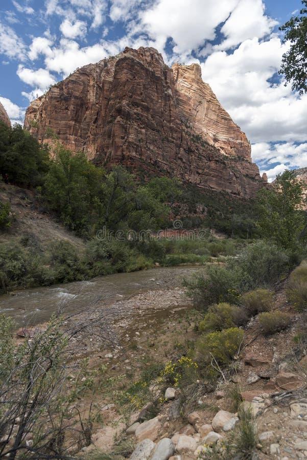 Ο ποταμός της Virgin και τοποθετεί το μεγαλοπρεπές εθνικό πάρκο Zion στοκ εικόνα