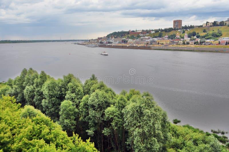 Ο ποταμός του Βόλγα, ο ποταμός Oka και το Κρεμλίνο σε Nizhny Novgorod, Ρωσία στοκ φωτογραφία
