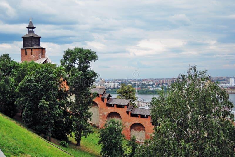 Ο ποταμός του Βόλγα, ο ποταμός Oka και το Κρεμλίνο σε Nizhny Novgorod, Ρωσία στοκ φωτογραφίες με δικαίωμα ελεύθερης χρήσης