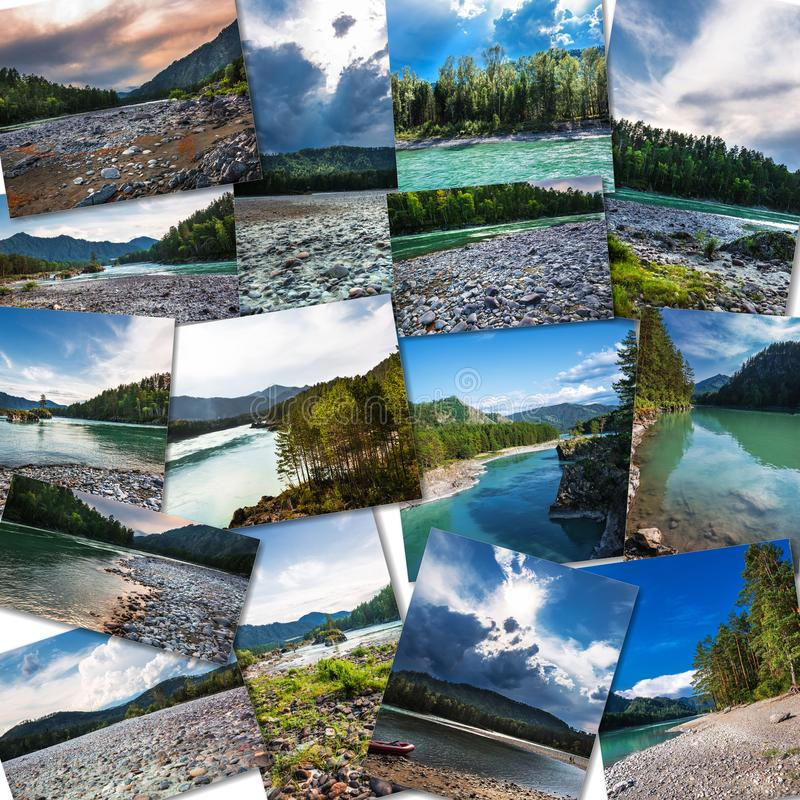 Ο ποταμός Katun στη Δημοκρατία Altai κολάζ στοκ εικόνες
