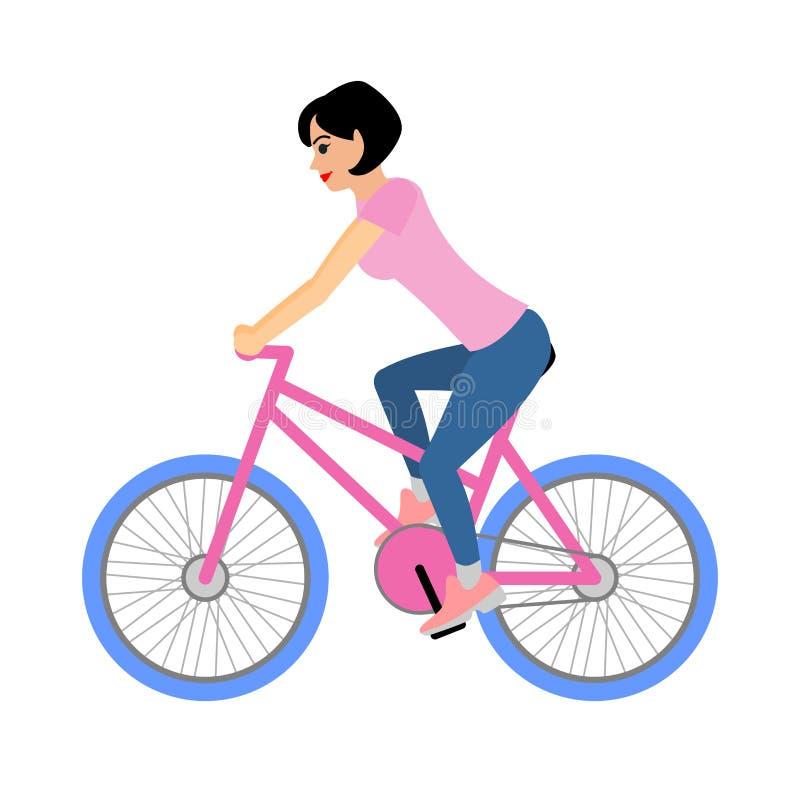 Ο ποδηλάτης γυναικών οδηγά ένα ποδήλατο Απεικόνιση που απομονώνεται διανυσματική στο λευκό απεικόνιση αποθεμάτων