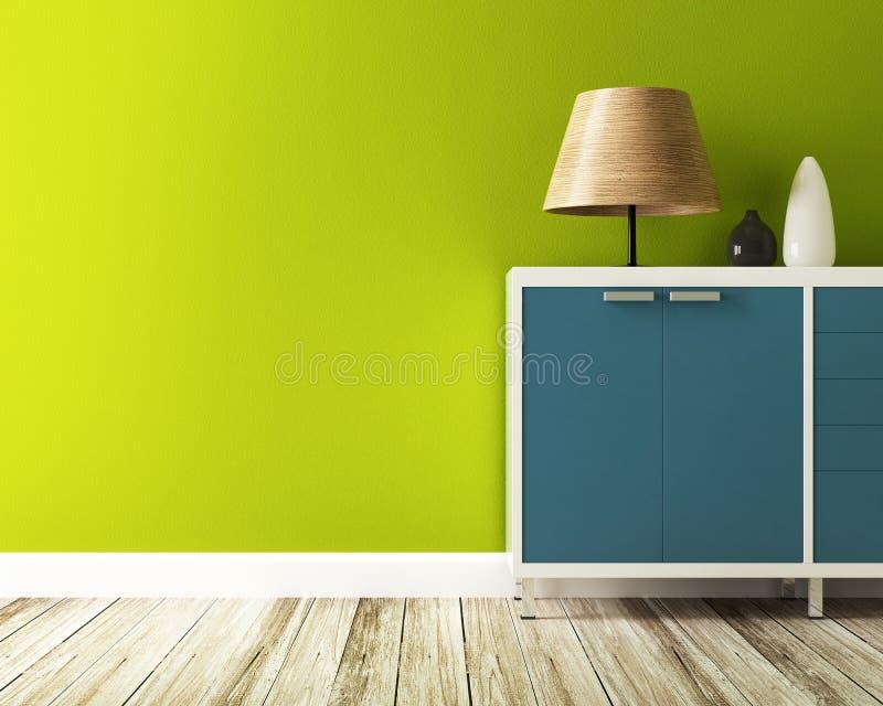Ο πράσινοι τοίχος και το γραφείο διακοσμούν διανυσματική απεικόνιση