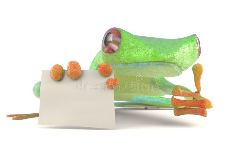 Ο πράσινος βάτραχος με ένα κενό σημάδι φυλλομετρεί επάνω την τρισδιάστατη απεικόνιση διανυσματική απεικόνιση