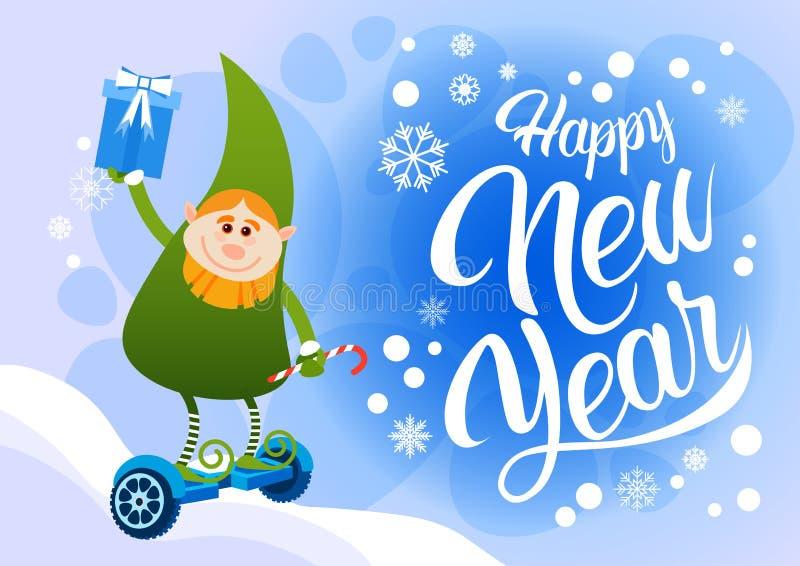 Ο πράσινος γύρος αρωγών Santa νεραιδών ηλεκτρικός αιωρείται τη Χαρούμενα Χριστούγεννα διακοπών καλής χρονιάς πινάκων ελεύθερη απεικόνιση δικαιώματος