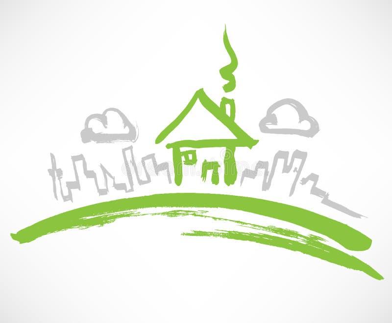ο πράσινος λόφος στεγάζ&epsilon διανυσματική απεικόνιση
