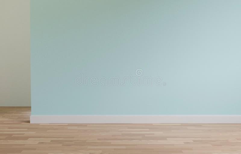 Ο πράσινος τοίχος και το ξύλινο διάστημα αντιγράφων πατωμάτων, χλευάζουν επάνω, τρισδιάστατη απόδοση απεικόνιση αποθεμάτων