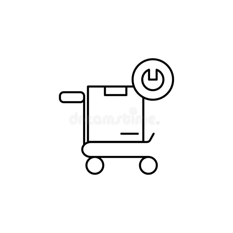 Ο προμηθευτής διαχειρίζεται το εικονίδιο εργαλείων κιβωτίων Στοιχείο του εικονιδίου γραμμών συμπεριφοράς των καταναλωτών ελεύθερη απεικόνιση δικαιώματος