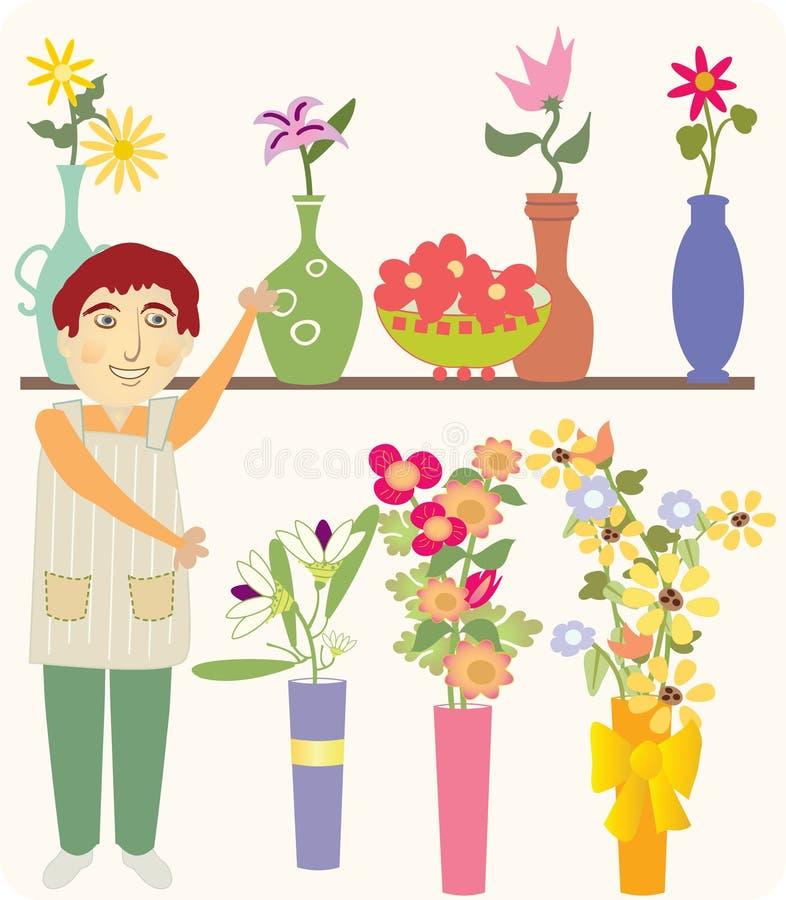 Ο προμηθευτής λουλουδιών απεικόνιση αποθεμάτων