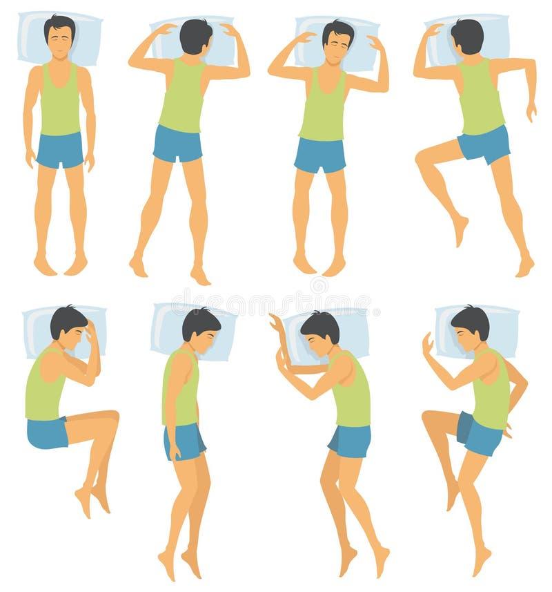 Ο προσδιορισμός θέσης ύπνου προσώπων, άτομο στο διαφορετικό ύπνο θέτει στο κρεβάτι επίσης corel σύρετε το διάνυσμα απεικόνισης απεικόνιση αποθεμάτων