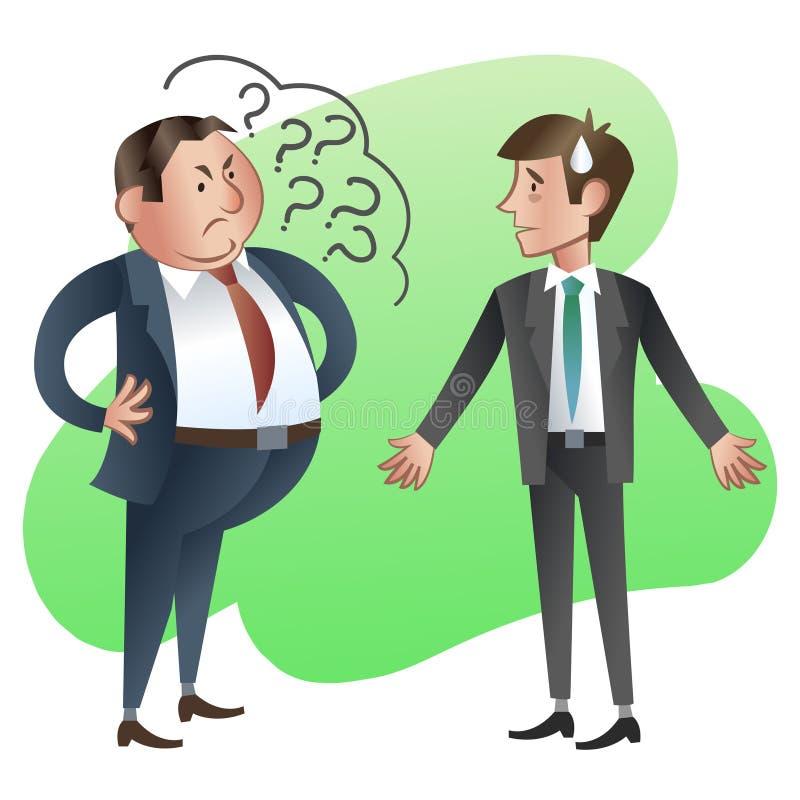 Ο προϊστάμενος ή ο διευθυντής ρωτά έναν κατώτερο υπάλληλο ελεύθερη απεικόνιση δικαιώματος