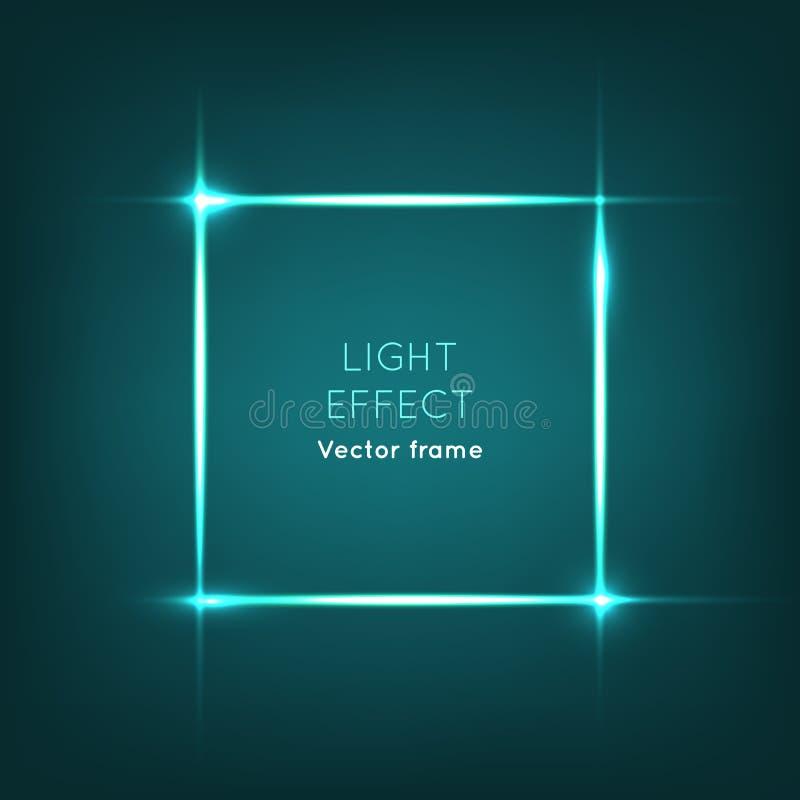 ο πρόσθετος eps πλίθας εικονογράφος πλαισίων μορφής περιλαμβάνει το διάνυσμα Ελαφριά επίδραση στο σκούρο μπλε υπόβαθρο ελεύθερη απεικόνιση δικαιώματος