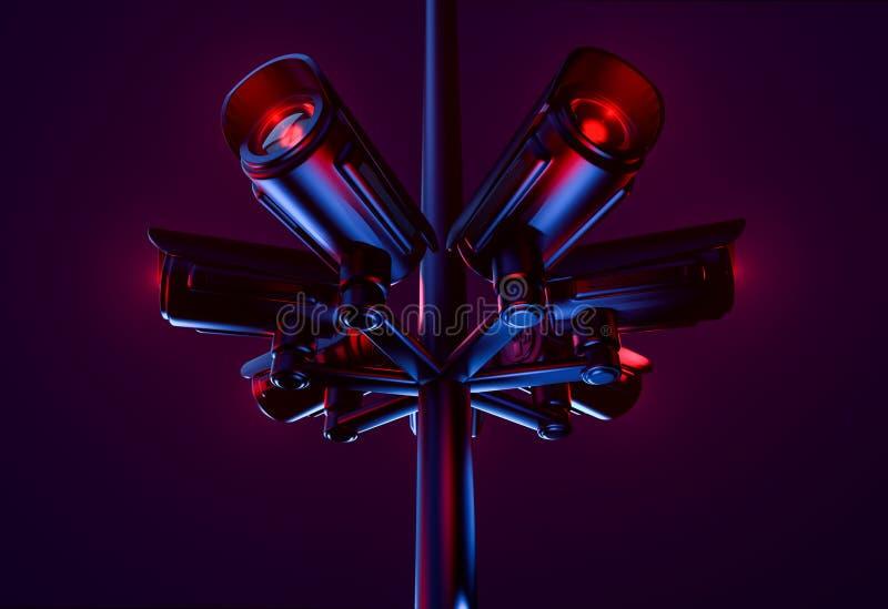 Ο πυλώνας με τα αρχεία του CCTV και συγκεντρώνει τις πληροφορίες για την κοινότητα Δημόσια ασφάλεια και μόνιμη έννοια επιτήρησης  διανυσματική απεικόνιση
