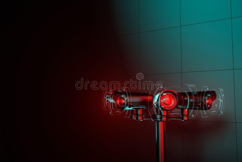 Ο πυλώνας με τα αρχεία του CCTV και συγκεντρώνει τις πληροφορίες για τους ανθρώπους Μόνιμη έννοια επιτήρησης που οδηγείται από τη απεικόνιση αποθεμάτων