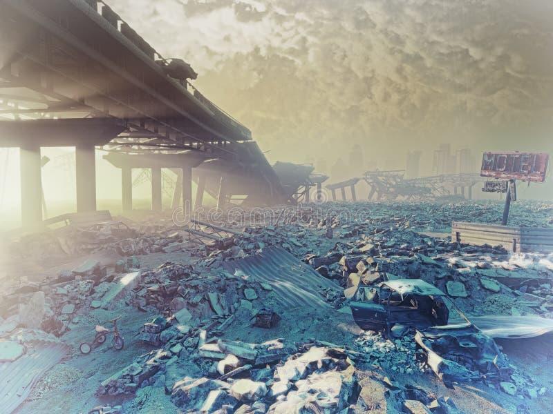 Ο πυρηνικός χειμώνας διανυσματική απεικόνιση