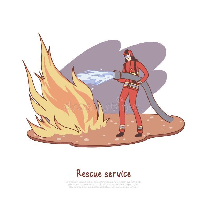 Ο πυροσβέστης σβήνει την πυρκαγιά με το νερό, γενναίος πυροσβέστης στην ομοιόμορφη μάνικα εκμετάλλευσης, επικίνδυνο επάγγελμα, έμ διανυσματική απεικόνιση