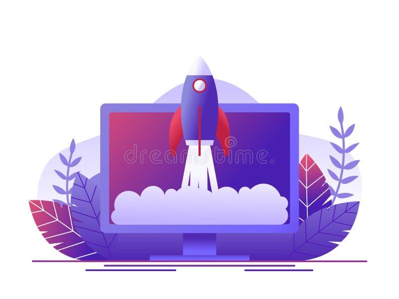 Ο πύραυλος απογειώνεται στον υπολογιστή Η έννοια της νέας ανάπτυξης ξεκινήματος επιχειρησιακού προγράμματος, προωθεί ένα νέο προϊ διανυσματική απεικόνιση