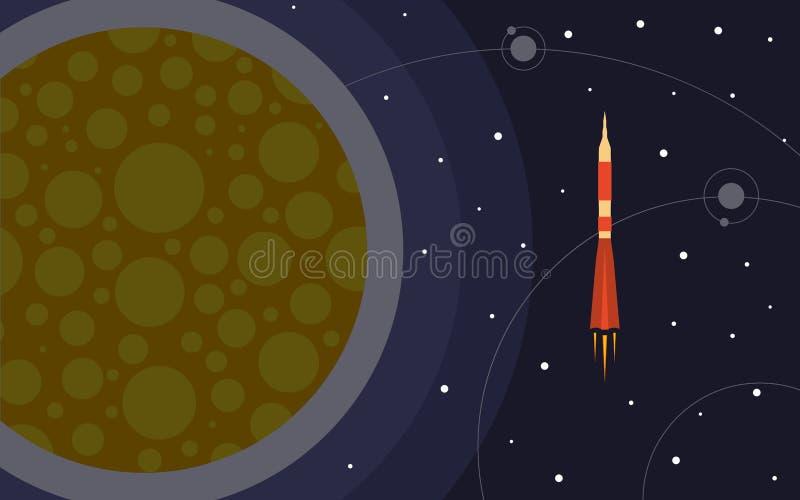 Ο πύραυλος στο διάστημα κοντά στον πλανήτη Διαστημικό ταξίδι ελεύθερη απεικόνιση δικαιώματος