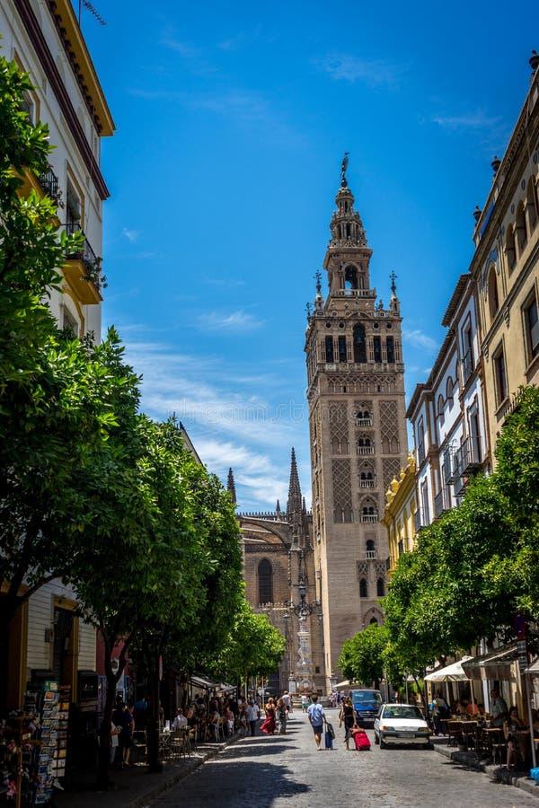 Ο πύργος κουδουνιών Giralda στη Σεβίλη, Ισπανία, Ευρώπη στοκ φωτογραφίες
