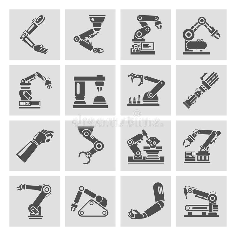 Ο ρομποτικός Μαύρος εικονιδίων βραχιόνων ελεύθερη απεικόνιση δικαιώματος