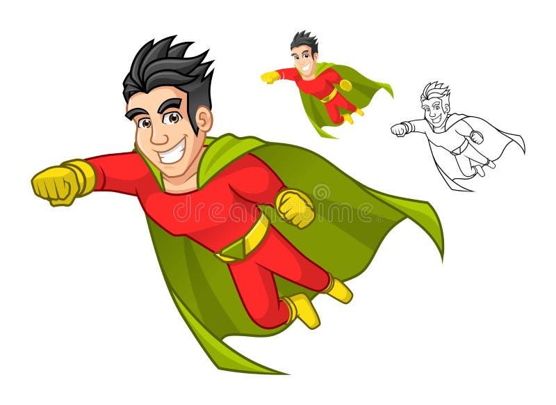 Ο δροσερός έξοχος χαρακτήρας κινουμένων σχεδίων ηρώων με το ακρωτήριο και το πέταγμα θέτουν διανυσματική απεικόνιση