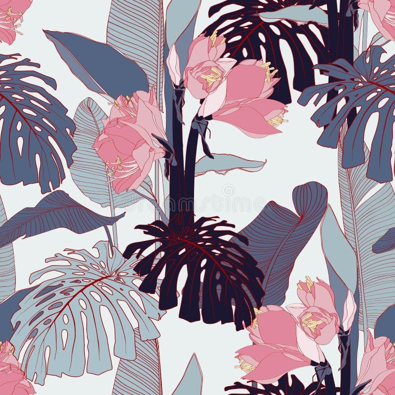 Ο ρόδινος κρίνος γραμμών ανθίζει με τα εξωτικά μπλε φύλλα monstera και μπανανών, ελαφρύ υπόβαθρο απεικόνιση αποθεμάτων