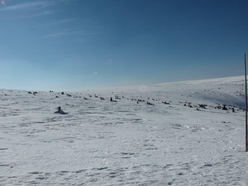 Ο δρόμος τοπίων άποψης χιονιού ουρανού ήλιων στοκ φωτογραφία