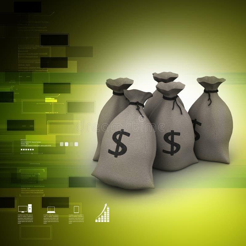 Ο σάκος των χρημάτων γεμίζει με το δολάριο ελεύθερη απεικόνιση δικαιώματος