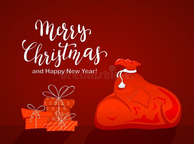 Ο σάκος Santa με παρουσιάζει στο κόκκινο υπόβαθρο ελεύθερη απεικόνιση δικαιώματος