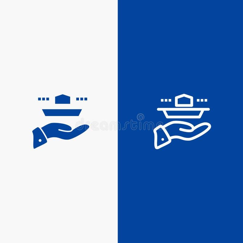 Ο σερβιτόρος, εστιατόριο, εξυπηρετεί, μεσημεριανό γεύμα, γραμμή γευμάτων και στερεά γραμμή εμβλημάτων εικονιδίων Glyph μπλε και σ διανυσματική απεικόνιση