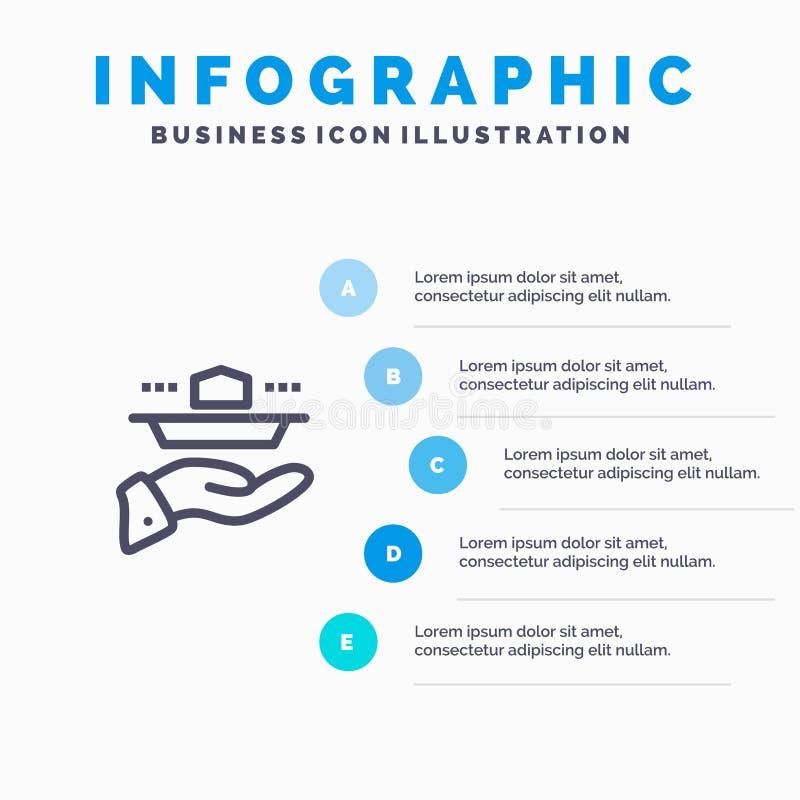 Ο σερβιτόρος, εστιατόριο, εξυπηρετεί, μεσημεριανό γεύμα, εικονίδιο γραμμών γευμάτων με το υπόβαθρο infographics παρουσίασης 5 βημ διανυσματική απεικόνιση