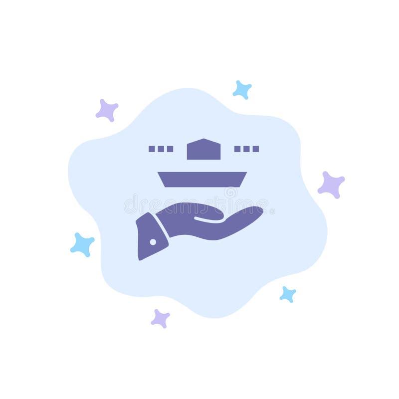 Ο σερβιτόρος, εστιατόριο, εξυπηρετεί, μεσημεριανό γεύμα, μπλε εικονίδιο γευμάτων στο αφηρημένο υπόβαθρο σύννεφων ελεύθερη απεικόνιση δικαιώματος
